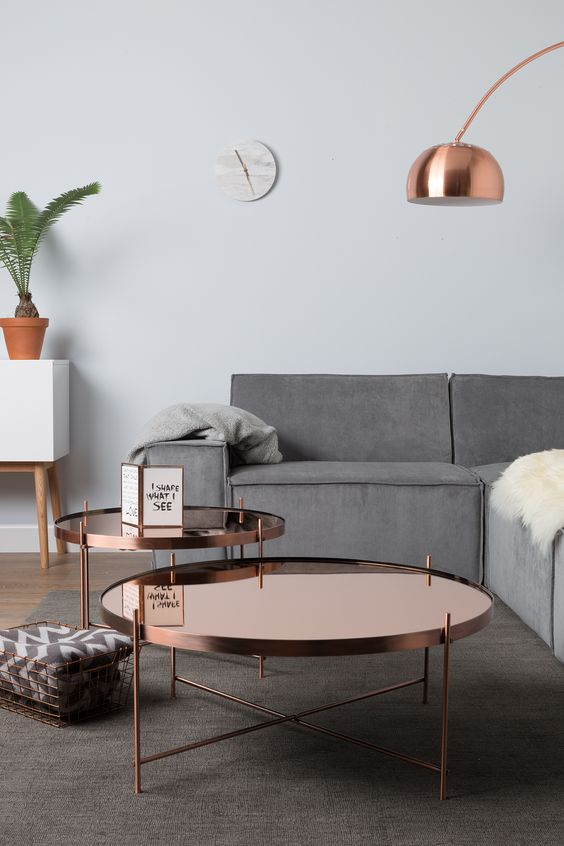 Stunning copper reflective coffee table