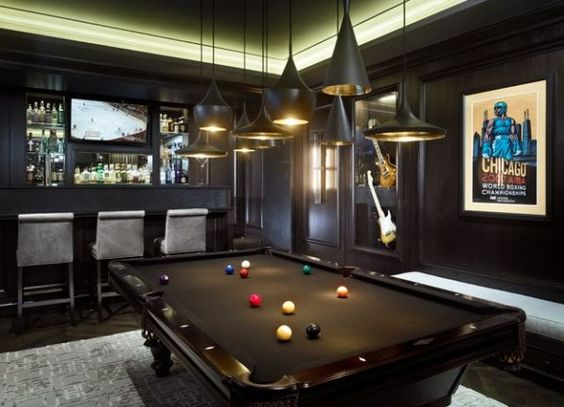 Pendant lighting enhances this snooker table